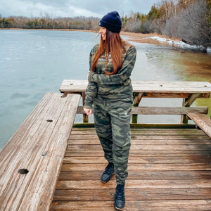 Fall in Northern Michigan wearing the Lakes and Grapes Unisex Camo Joggers