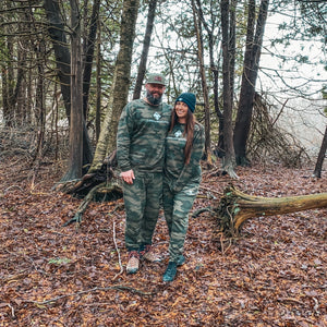 Exploring the trails in Northern Michigan wearing the Unisex Camo Joggers by Lakes and Grapes