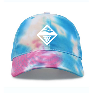 Add a splash of color to your next adventure with this Lakes and Grapes Tie Dye Hat