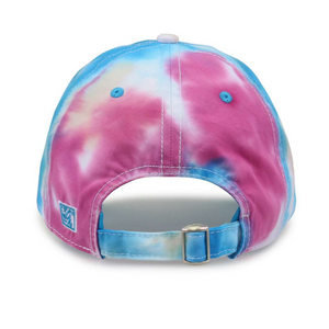 Back design on the adjustable Lakes and Grapes Tie Dye Hat that is perfect for a vacation in Northern Michigan