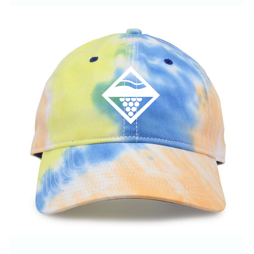 Front logo design on the Lakes and Grapes Tie Dye Hat perfect for catching sunset on Lake Michigan