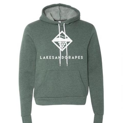 Lakes and Grapes Classic hoodie in green offers the optimal amount of comfort with the comfortable material that gets softer the more you wear it, makes it irresistible to keep pairing with shorts, jeans or leggings anywhere around Traverse City.