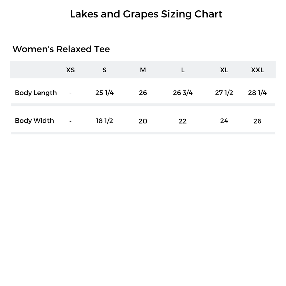 Lakes and Grapes Sizing Chart of the Women's Relaxed Tee