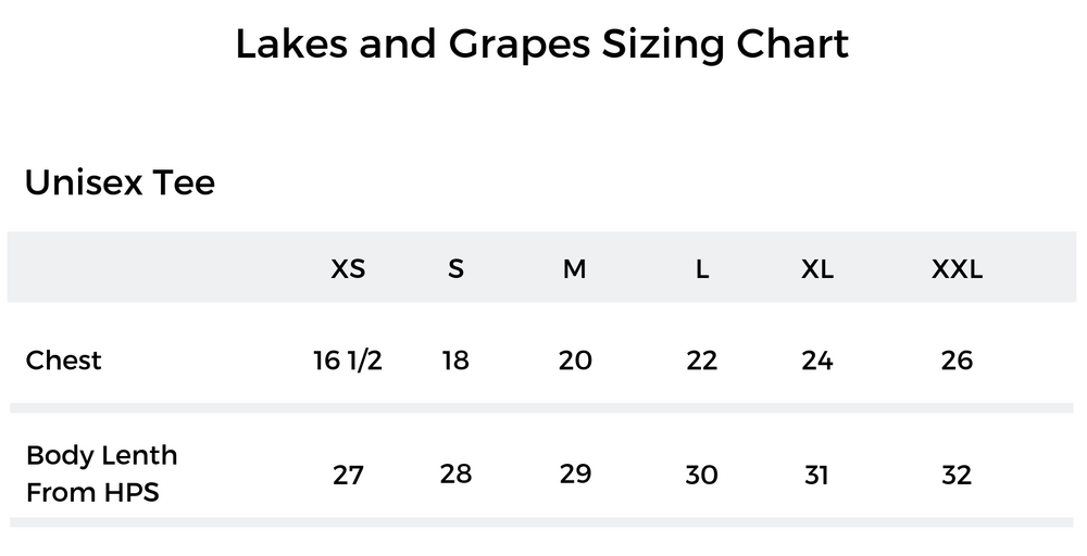 Lakes and Grapes Unisex Tee Sizing Chart Unisex Rosé By The Bay Tee