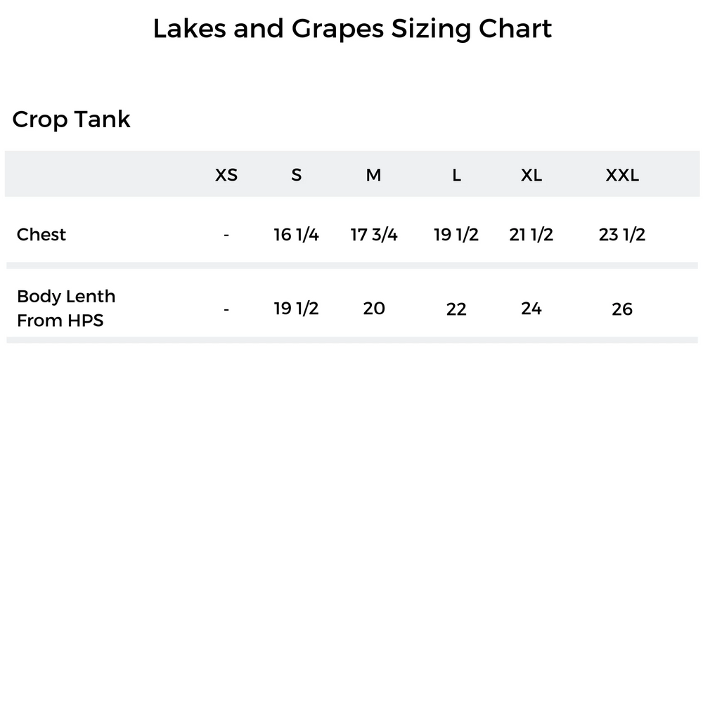 Lakes and Grapes Sizing Chart of the Crop Tank