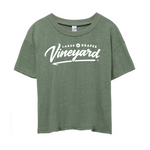 The Lakes and Grapes Women's Vineyard Crop Tee is soft and can be styled on your next Wine Tour in Traverse City