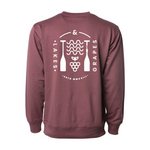 View of the back design on the Lakes and Grapes Wave & Grape Crew- Port that is perfect for Fall Adventures