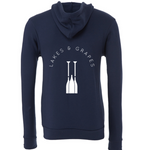 Lakes and Grapes classic lake zip hoodie in navy with white paddle logo and lettering on the back.