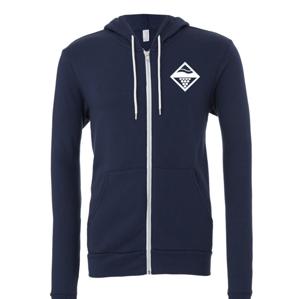 Lakes and Grapes classic lake zip hoodie in navy with white logo.