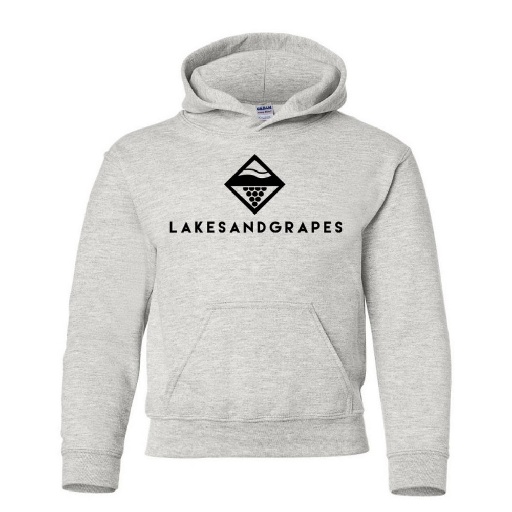 Lakes and Grapes youth classic hoodie in grey with black logo and lettering.