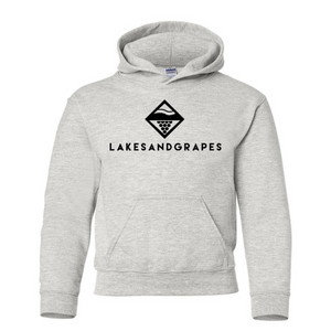 Load image into Gallery viewer, Lakes and Grapes youth classic hoodie in grey with black logo and lettering.