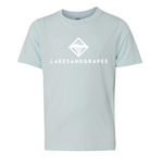 Youth ice blue classic tee with white Lakes and Grapes logo and lettering.
