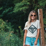 Hike in Northern Michigan in a comfortable Unisex Wave and Vine Tee-Tan by Lakes and Grapes