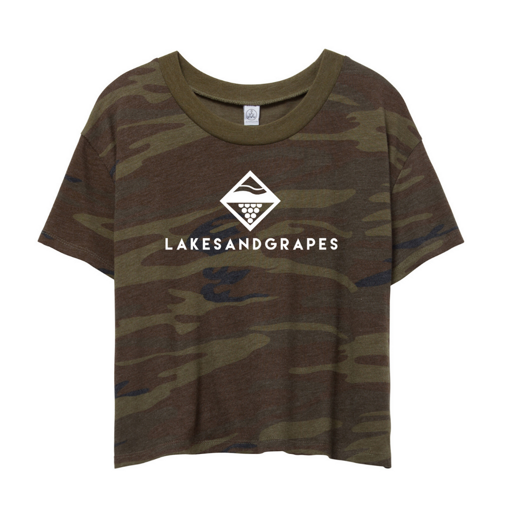 Load image into Gallery viewer, The Lakes and Grapes Women's Classic Camo Crop Tee is so soft and perfect for any occasion