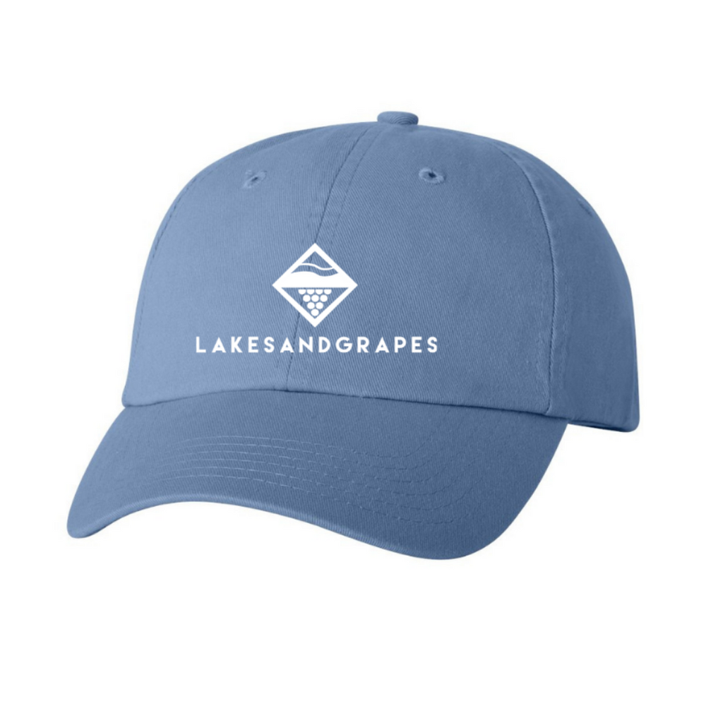 Classic blue baseball hat with white Lakes and Grapes logo.