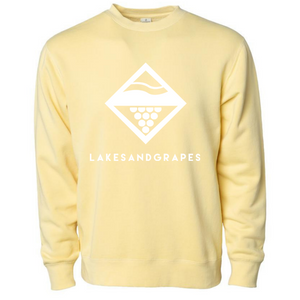 Lakes and Grapes lake wash diamond crew in  yellow with white logo and lettering.