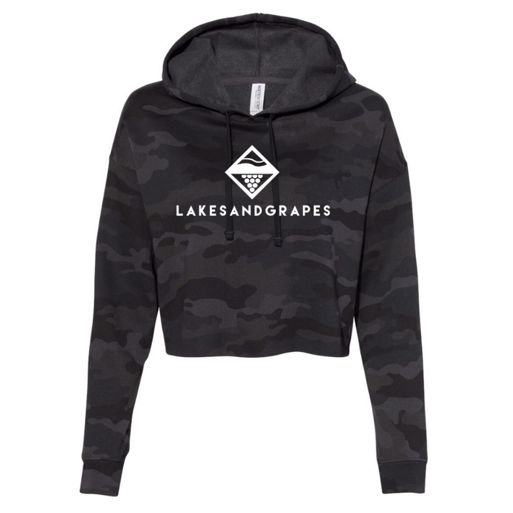 Load image into Gallery viewer, Go for a casual, effortless, stylish outfit for your day around town in Traverse City in the Lakes and Grapes Women's Camo Crop Hoodie