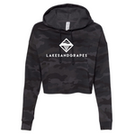 Go for a casual, effortless, stylish outfit for your day around town in Traverse City in the Lakes and Grapes Women's Camo Crop Hoodie