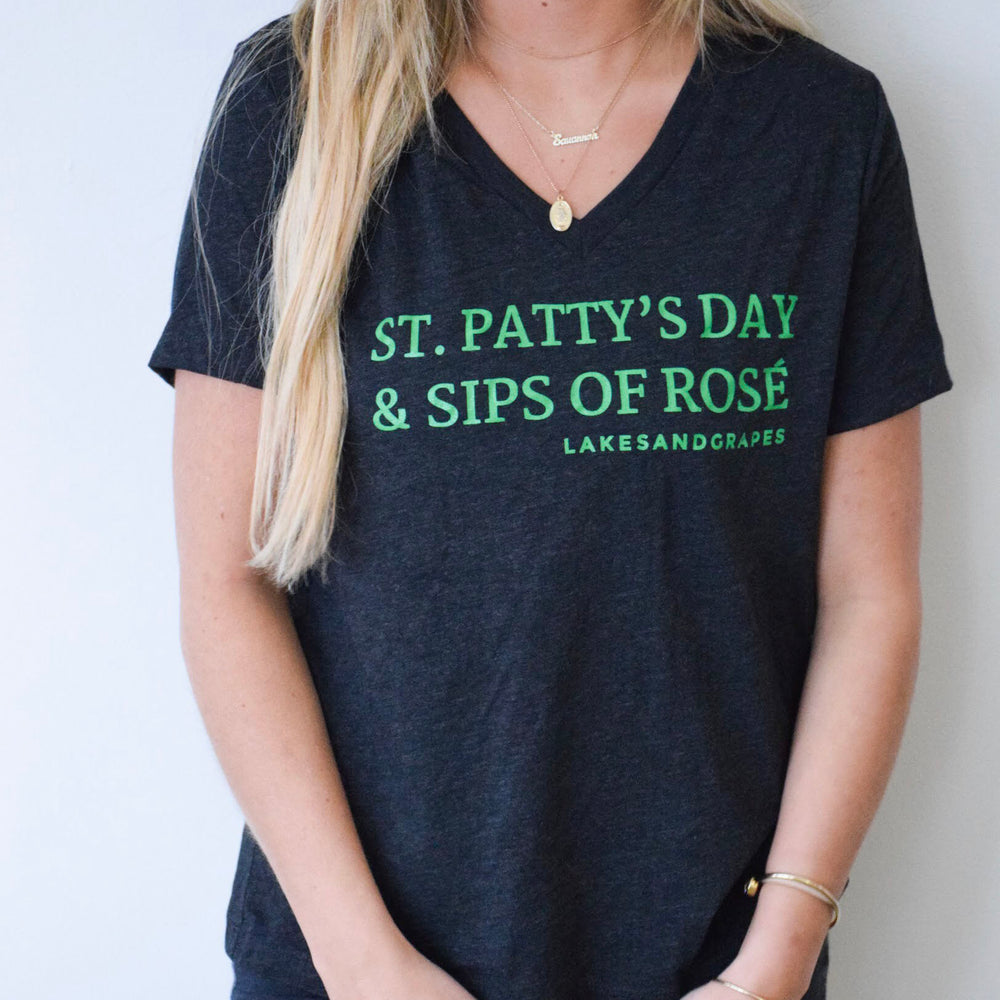 Women's St. Patty's Day Rosé by the Bay Tee with green wording