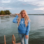 Lakes and Grapes Classic blue hoodie is the softest hoodie you will own. The special material allows it to get softer the more you wear it. Perfect for around the bonfire, on the boat, hiking, and everything Traverse City and Northern Michigan has to offer.