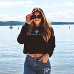 Lakes and Grapes black cropped hoodie with white lettering is your fun summer sweatshirt that is fit for all events- on the boat or around the campfire, the warm and stylish sweatshirt will be your summer favorite.