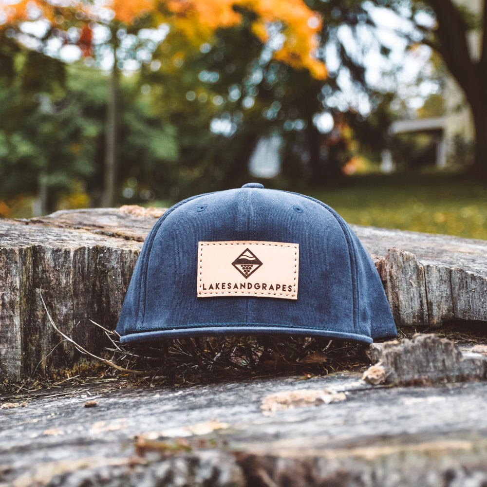 Classic Navy Corduroy Leather Patch Snapback