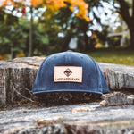 Navy Corduroy Snapback with Leather Patch
