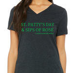 Women's Rosé by the Bay Tee with green wording is a St. Patty's Day relaxed fit Tee