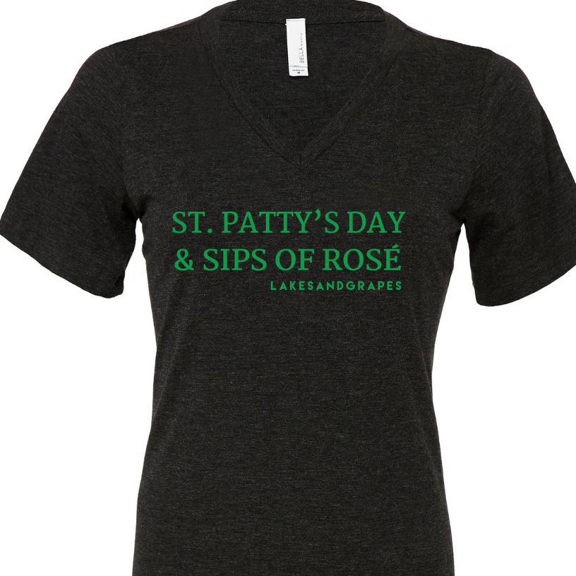 Wear the Rosé by the Bay Women's Tee with green wording  on St. Patty's