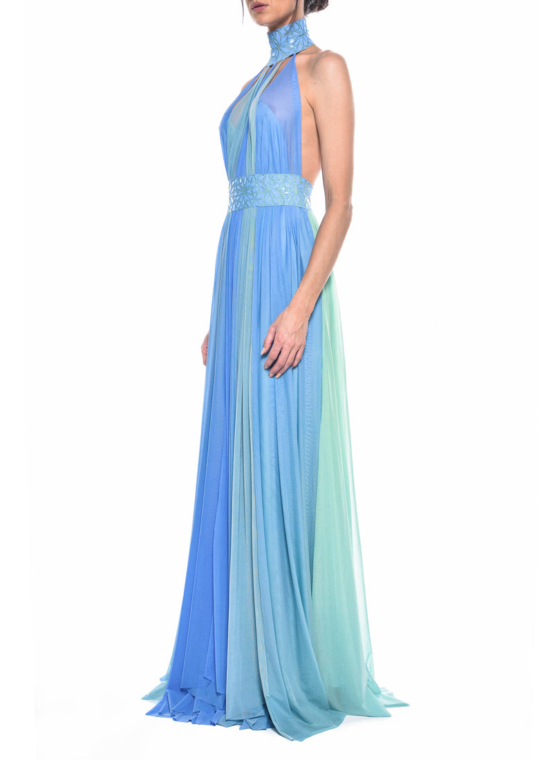 Floor Length High Neck Open Back Gown