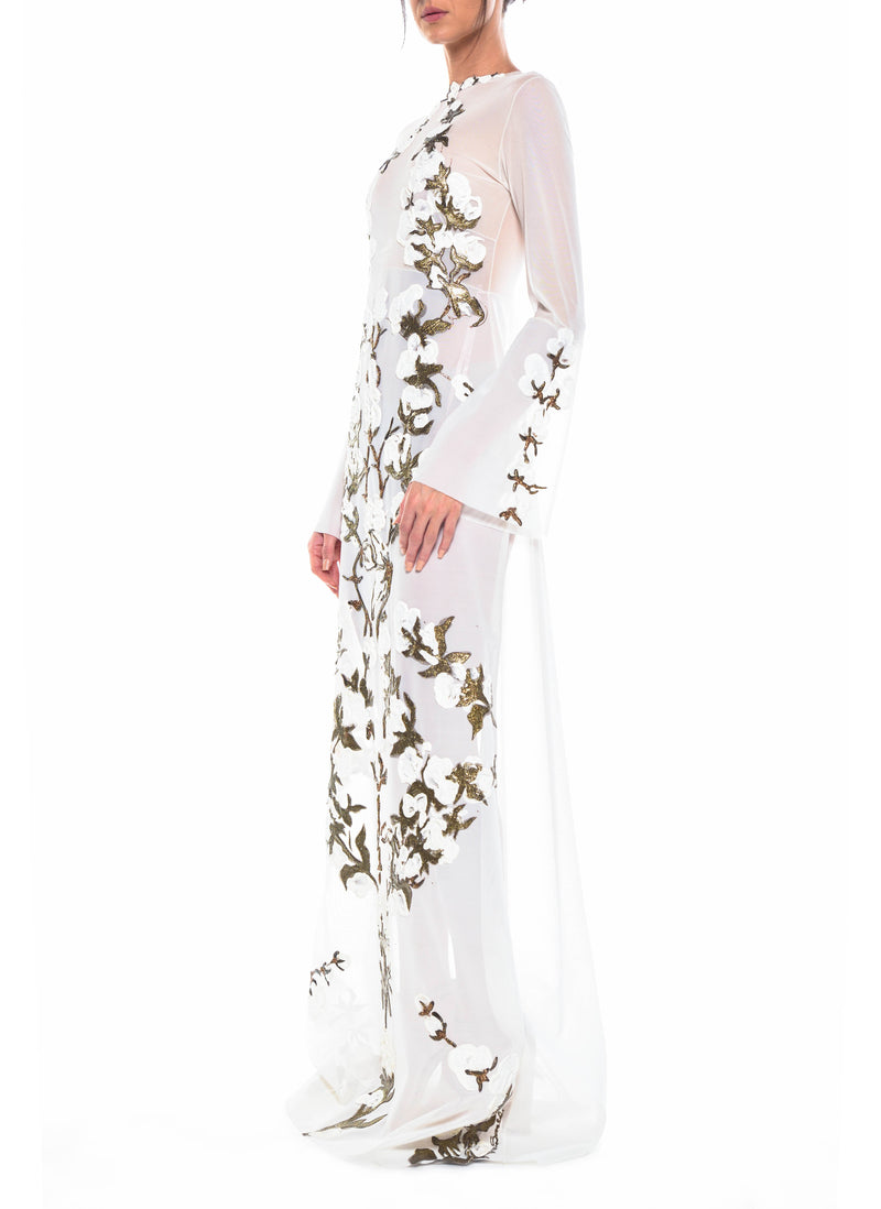 Floor Length Long Sleeve A-Line Gown