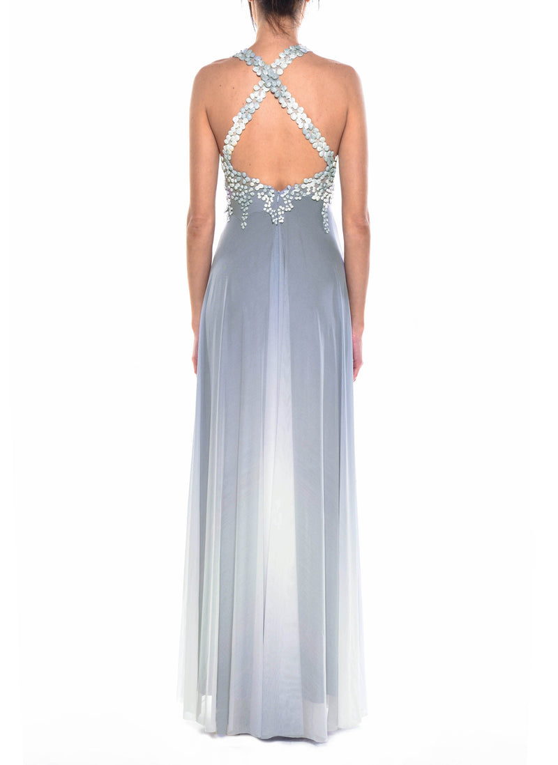 Floor Length Halter Cross Back Gown