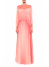 Floor Length V Neck Open Back Gown