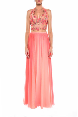 Floor Length Deep V Neck Cross Back Gown