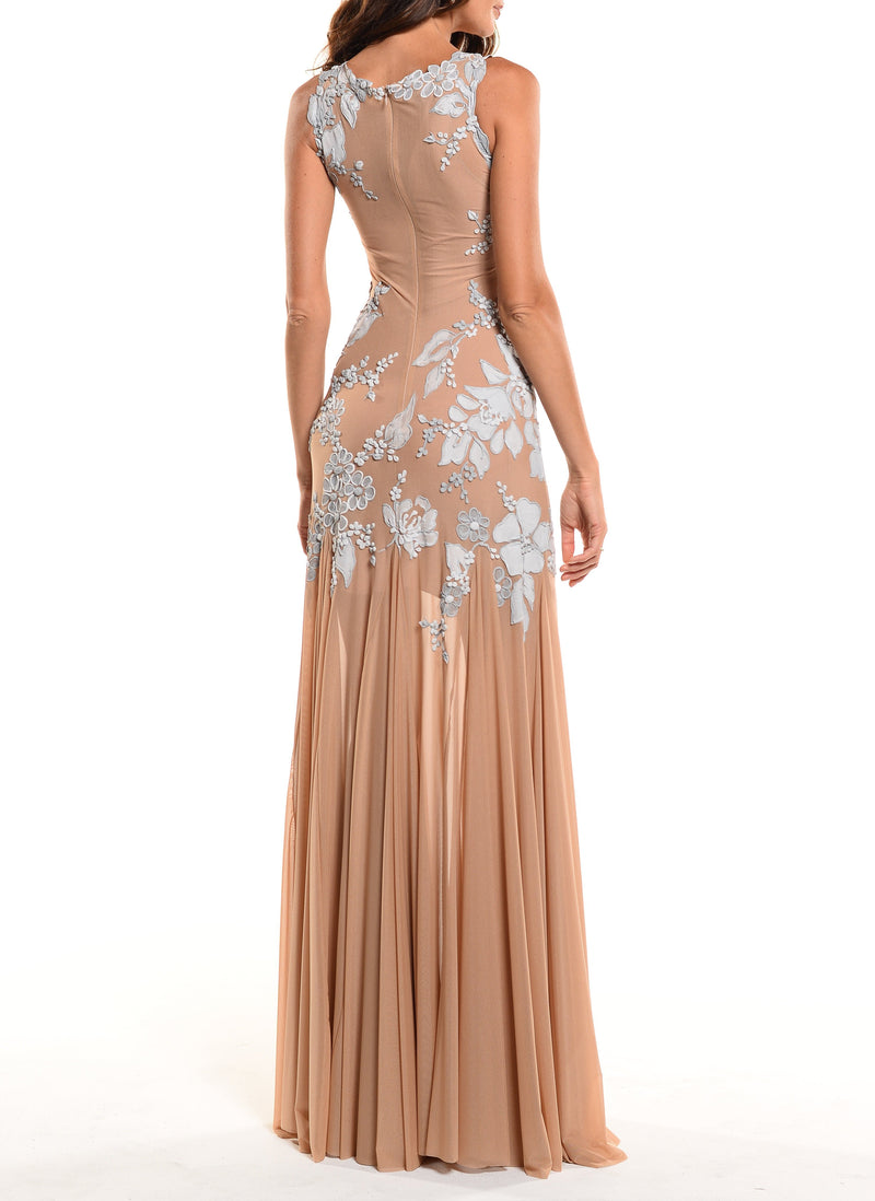 Floor Length Jewel Neck Gown