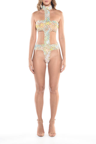 Swimwear - Folia Glossy White on Sheer Nude Bikini