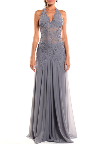 Floor Length Halter Tie Back Gown