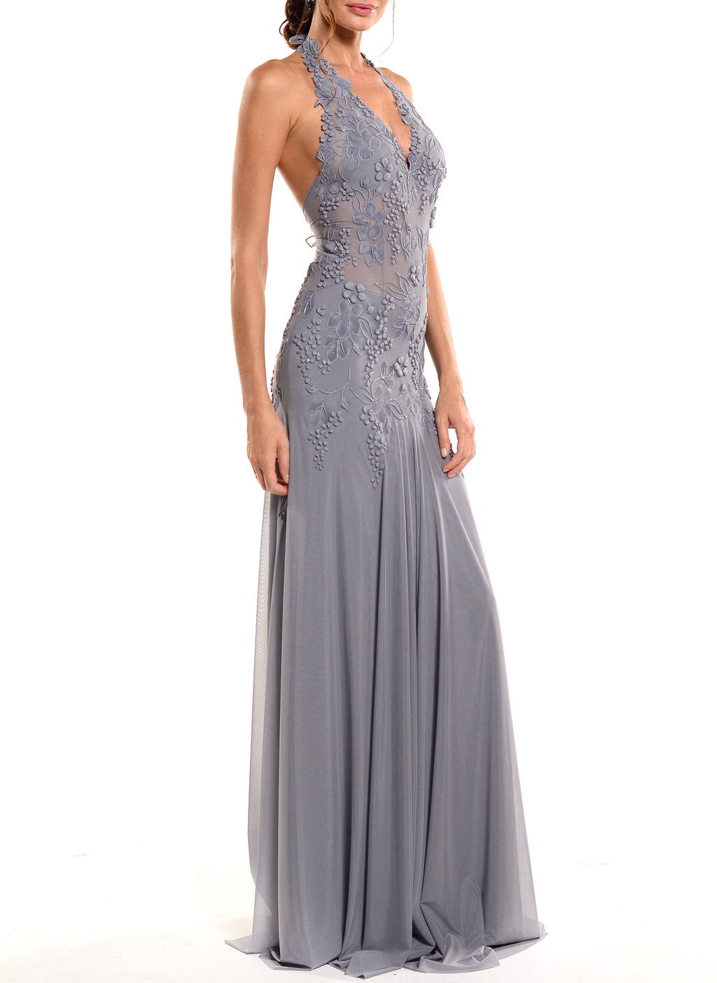 Floor Length Halter Double Tie Back