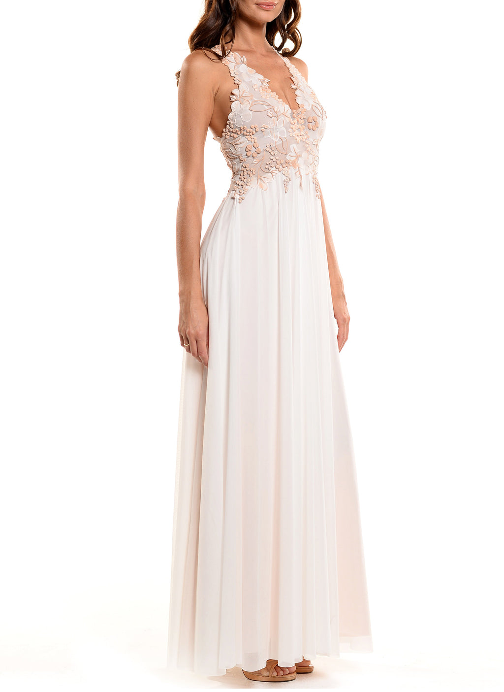 Floor Length Double V-Neck Gown - D0702WA ENGLISH GARDEN