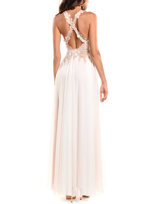 Floor Length Double V-Neck Gown