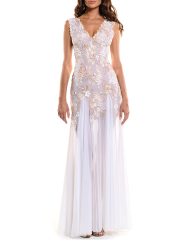 Floor Length Strapless Corset Zip Back Gown