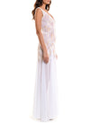 Floor Length Double V-Neck Gown With Godet Skirt - D0810CA - ENGLISH GARDEN