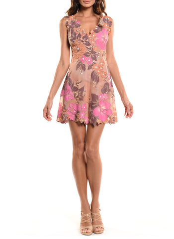 Above The Knee Length Double V-Neck Dress - D0810B - BOTANICA