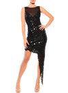 Above The Knee Length Double V-Neck Dress - D0810F - MYSTIQUE