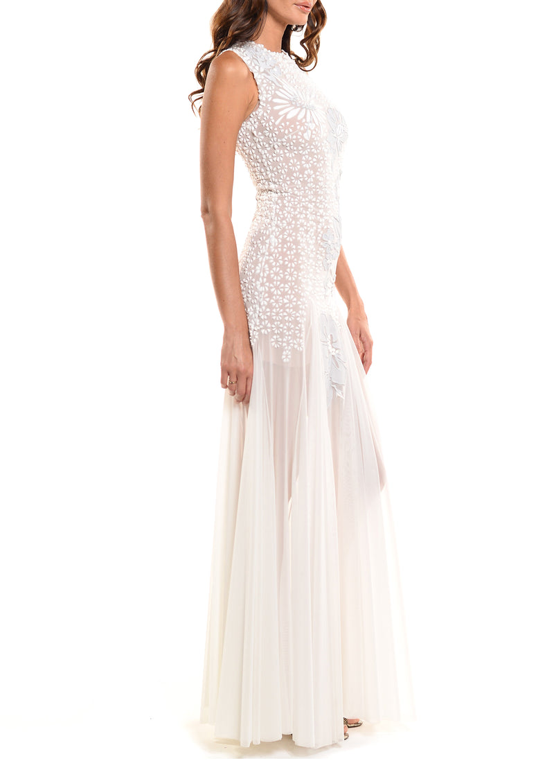 Floor Length Jewel Neck Gown With Godet Skirt