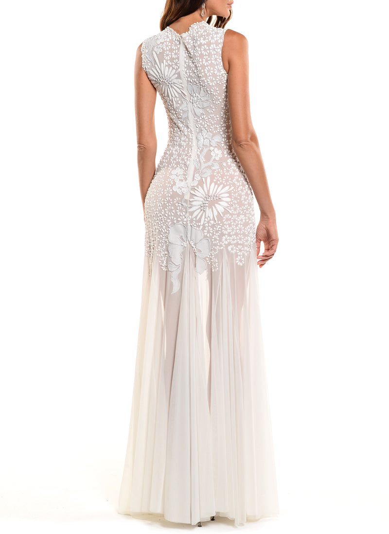 Floor Length Jewel Neck Gown With Godet Skirt - D1116CA - ARABESQUE