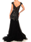 Floor Length Extended Cap Sleeve Scallop Gown