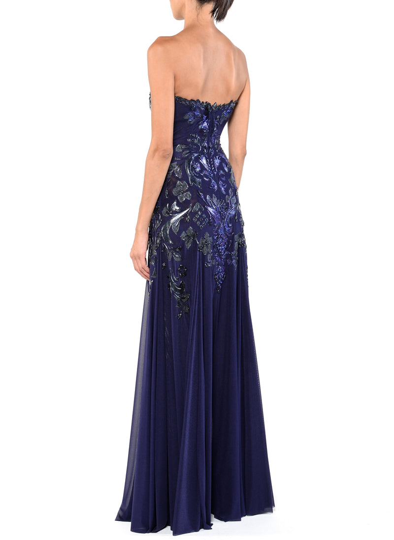 Floor Length Strapless Corset Zip Back Gown - D1223A - Aurora