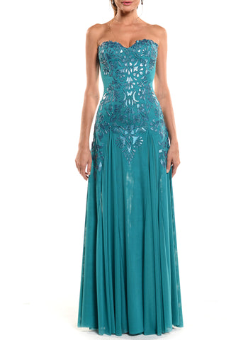Floor Length Double V-Neck Gown - D0962WA - TRIBAL SMALL