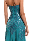 Floor Length Strapless Corset Zip Back Gown - D1223CA - SMALL TRIBAL